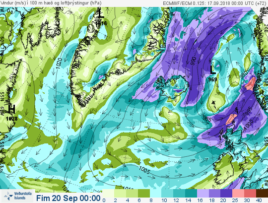 This episode of bad weather is caused by a deep low pressure systems east of Iceland