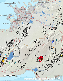 A map showing the epicenters of the earthquakes on the 13th of September, indicated by the red circles, scaled according to