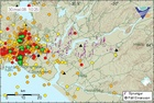 map of Ölfus shows a cluster of dots representing earthquakes