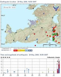 map of SW Iceland showing recent earthquakes as dots and stars