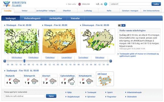weather forecasts, Icelandic version