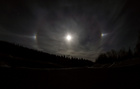 Moon halo with bright spots.