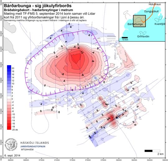 Subsidenza al vulcano Bardarbunga prodotta confrontando un dato attuale con un DEM LIDAR acquisito nel 2011. Fonte :  Institute of the Earth Sciences, University of Iceland.