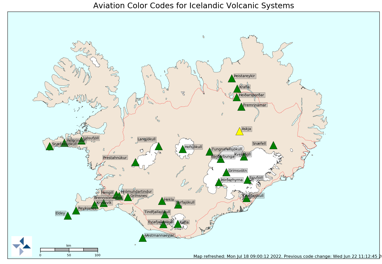 Aviation Colour Code Map Volcanic Eruptions Icelandic - Map of us volcanoes